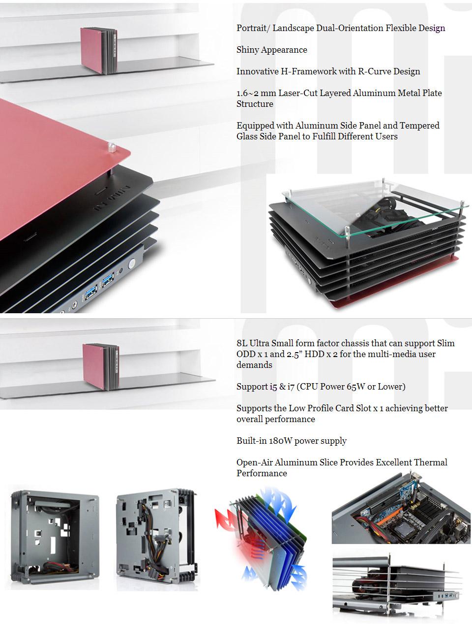 In Win H-Frame Mini ITX Aluminium Case Red [IW-HFRAME-MINI-RD] : PC ...