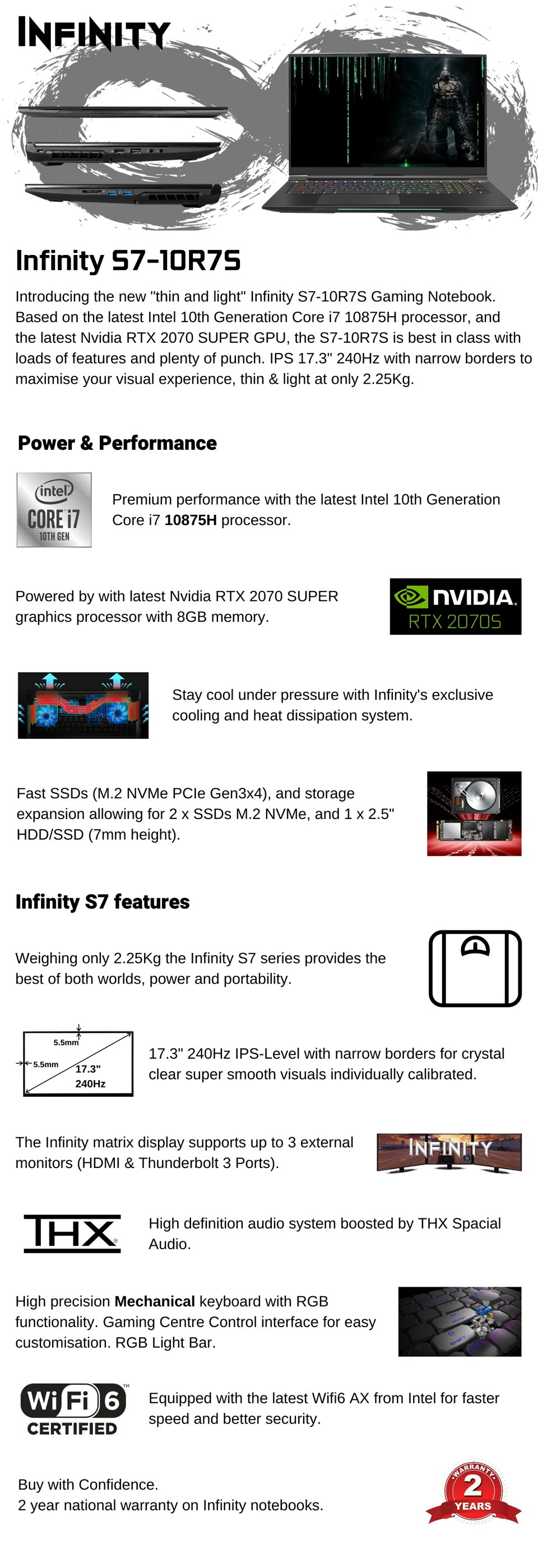 Infinity S7 Core i7 RTX 2070 Super 17.3in 240Hz Notebook features