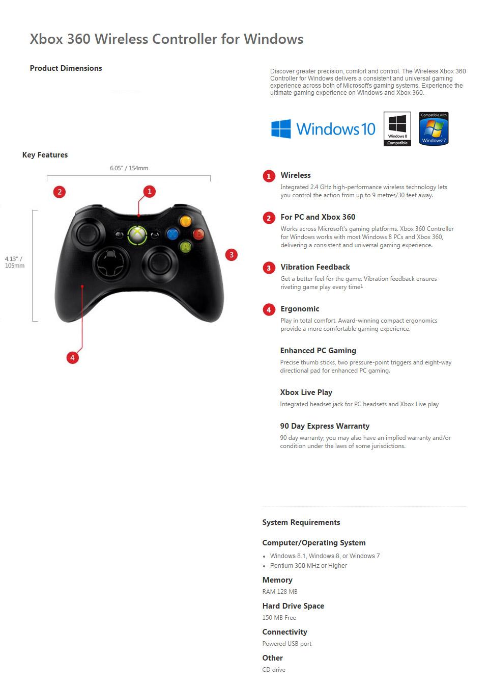 Microsoft Xbox 360 Black Wireless Controller for Windows [JR9-00012 ...