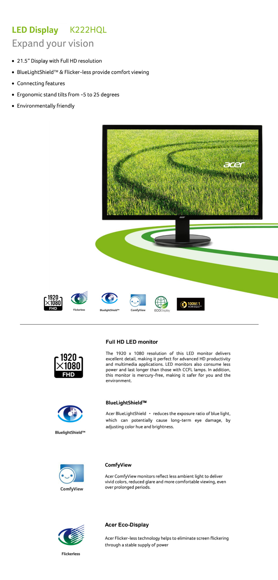 Acer K222HQL-HDMI FHD 22in Monitor features