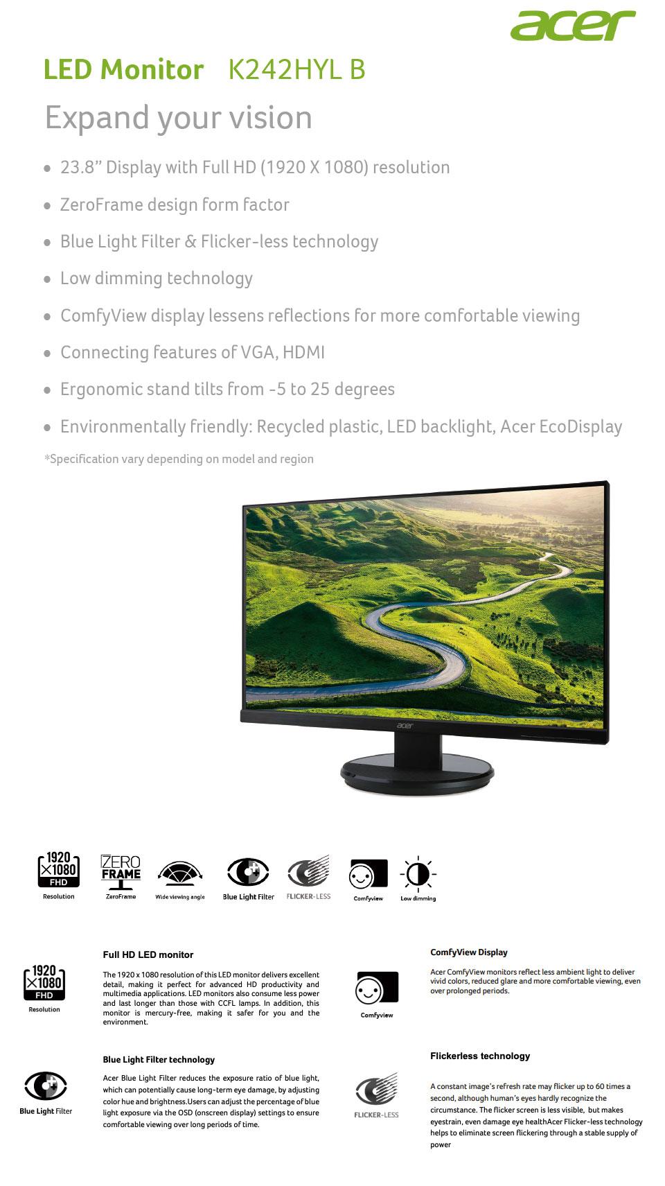 Acer K242HYLB FHD 24in Monitor