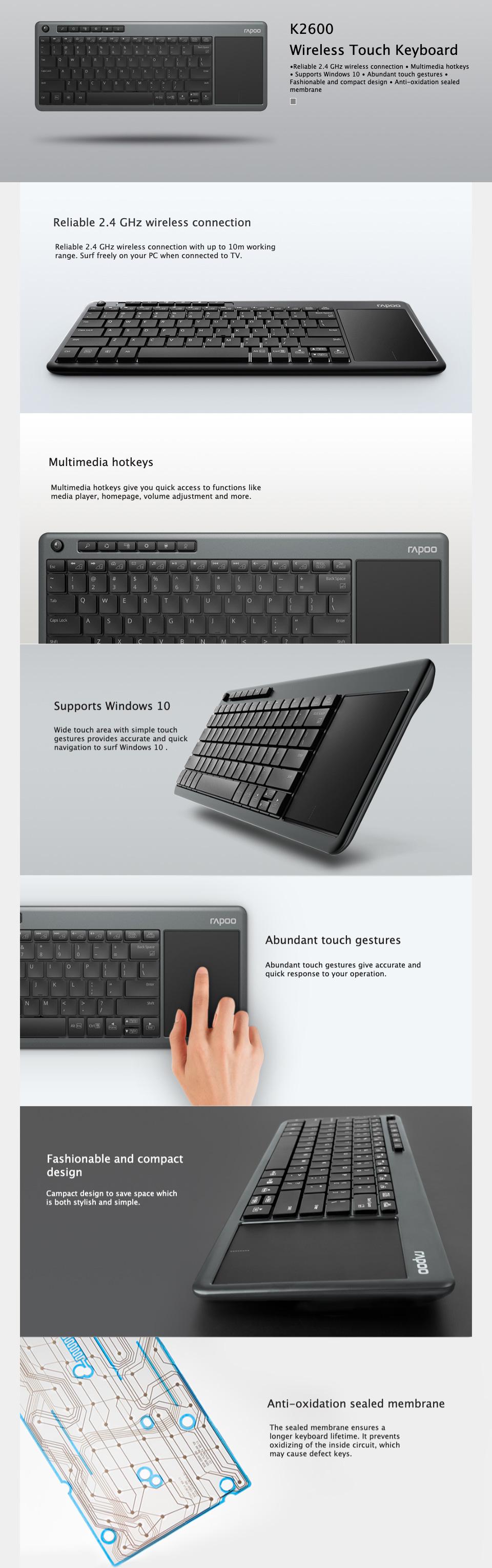 Rapoo K2600 Wireless Multimedia Touchpad Keyboard features