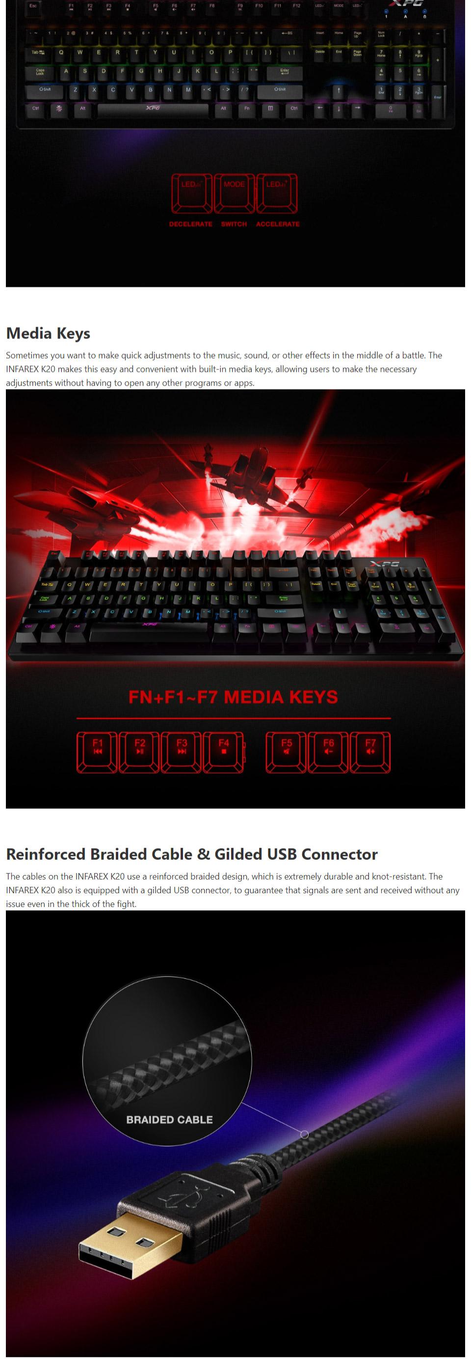 Buy Adata Xpg Rgb K20 Mechanical Gaming Keyboard Infarex Blue Kb Ad K20 Pc Case Gear Australia