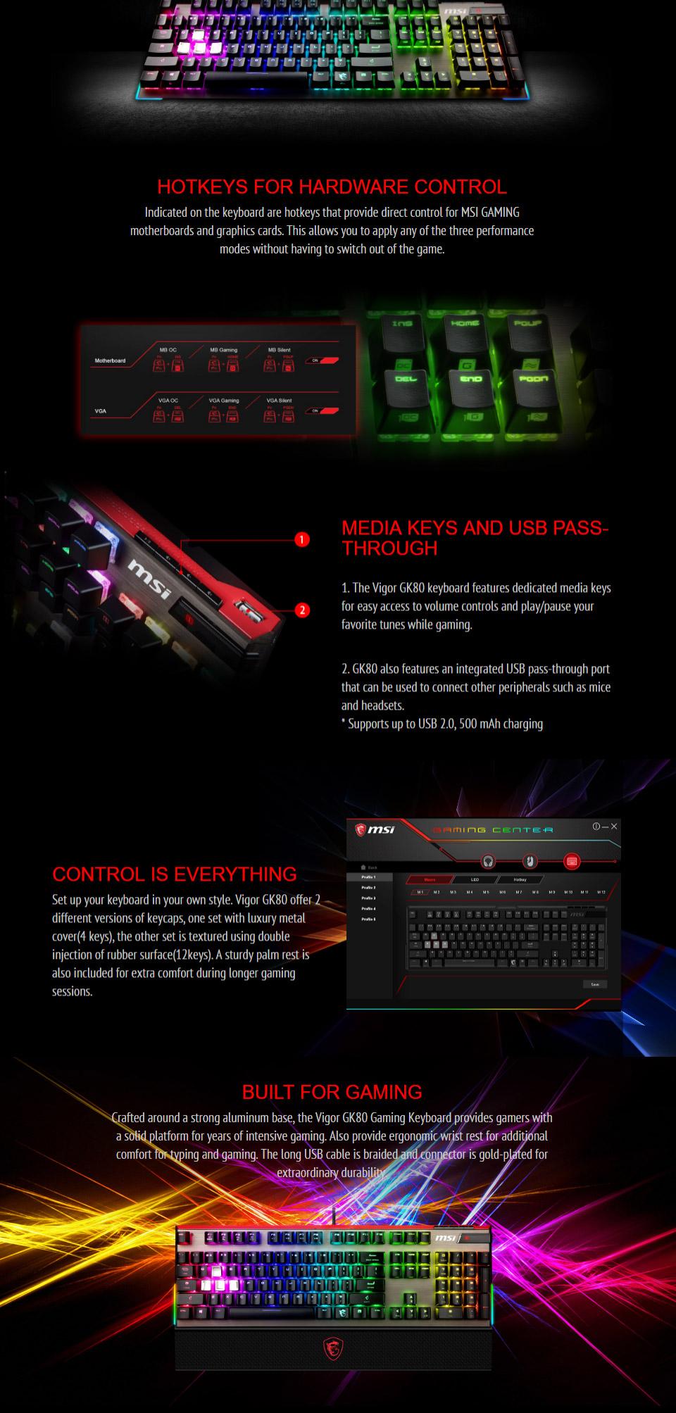 MSI Gaming Vigor GK80 RGB Mech Keyboard Cherry Red