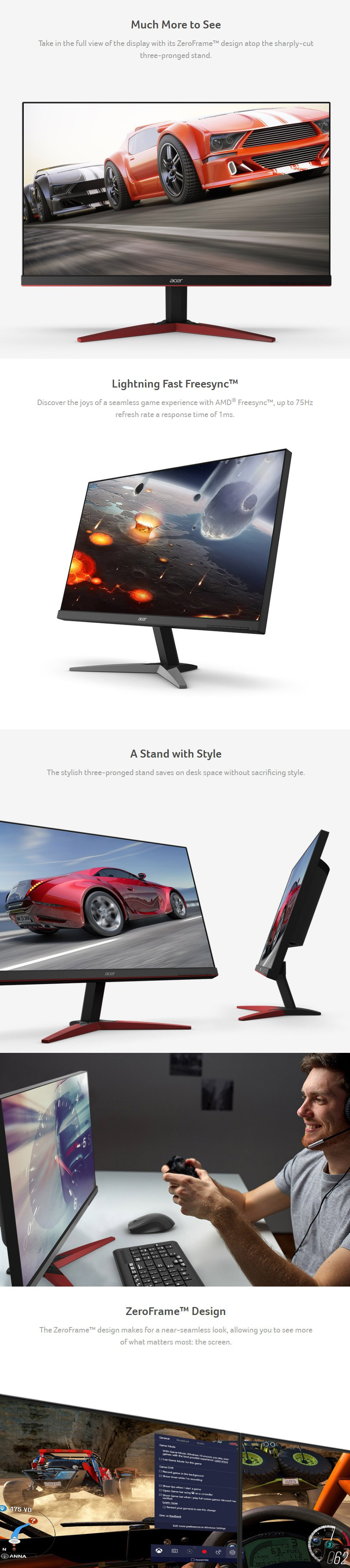 Acer KG251QG FHD 75Hz FreeSync 24.5in Monitor features