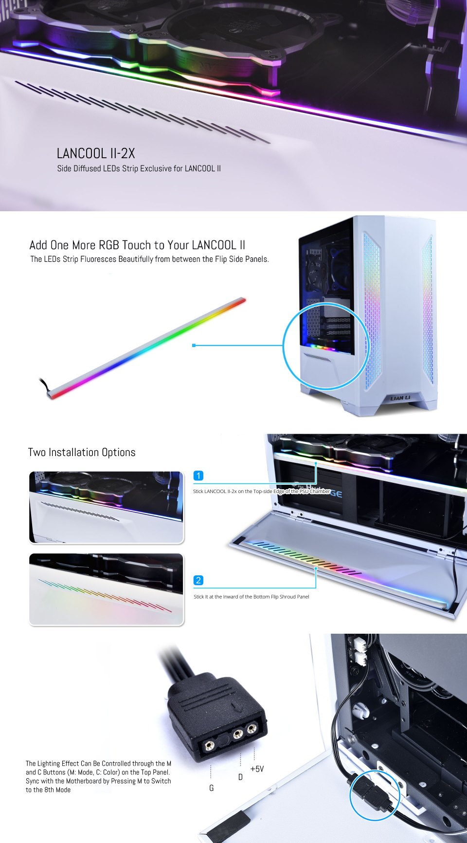 Lian Li Side Diffused ARTB Strip For Lancool Two features