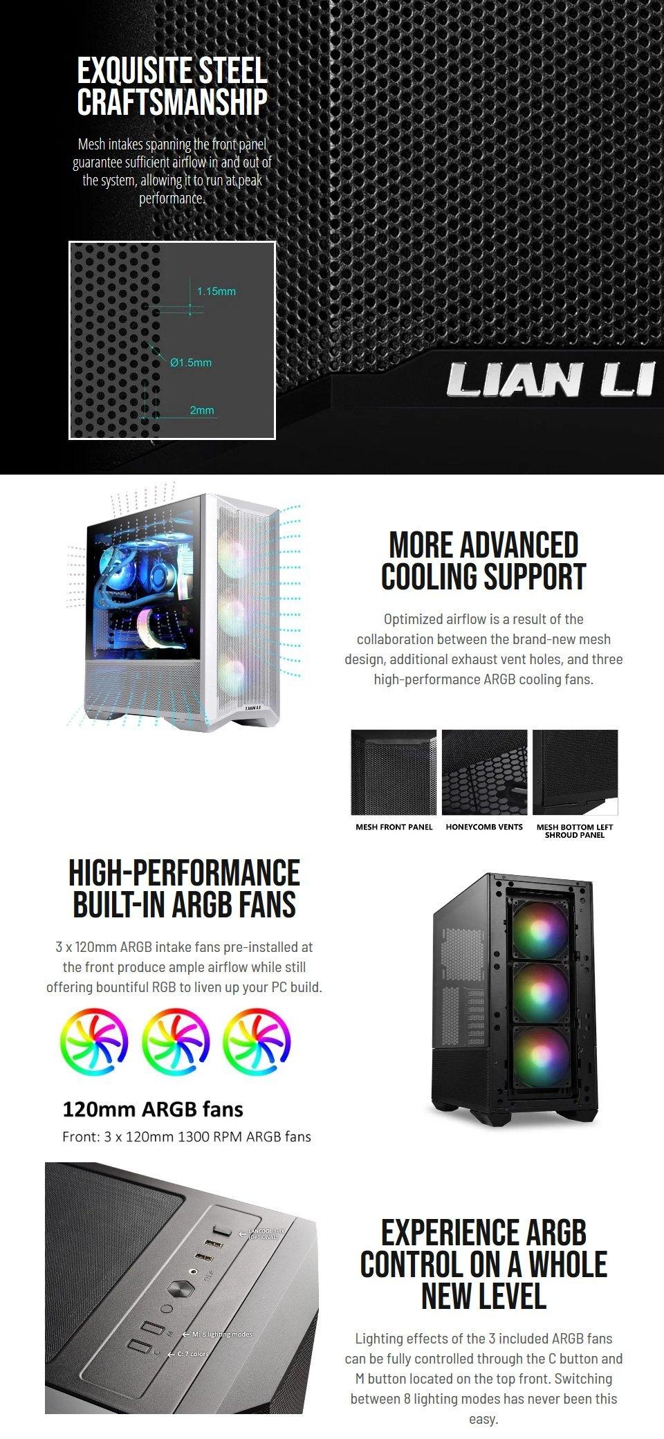 Lian Li Lancool Two Mesh RGB Case White features