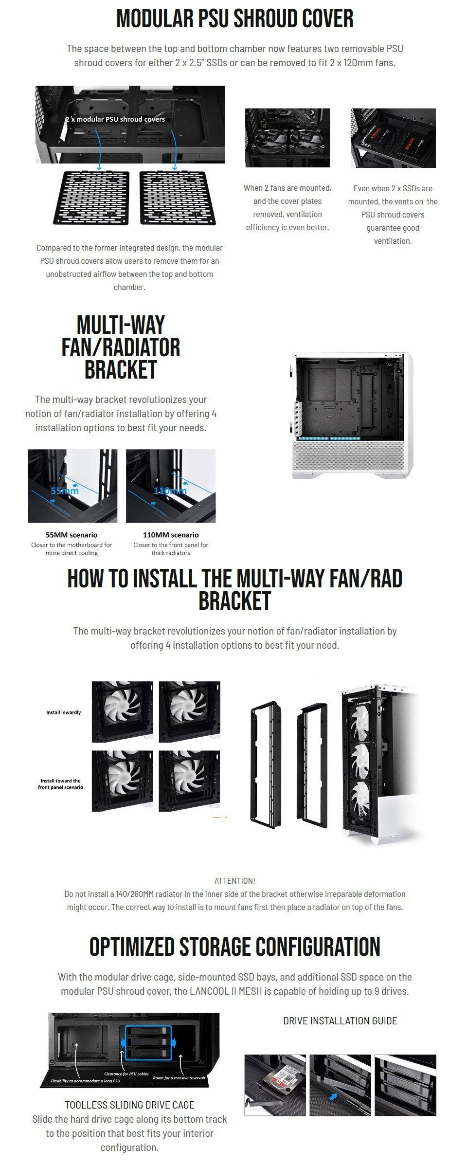 Lian Li Lancool Two Mesh RGB Case White features 2