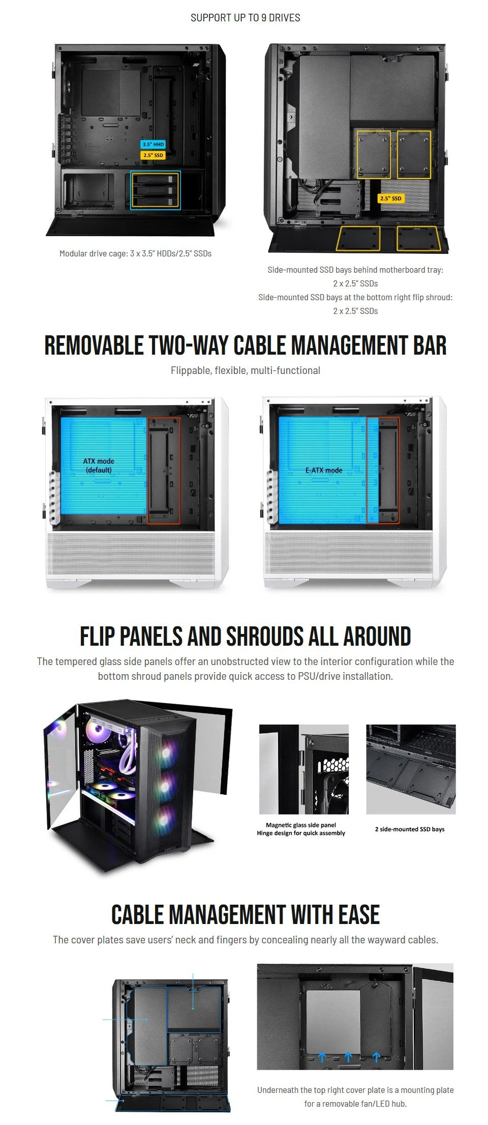 Lian Li Lancool Two Mesh RGB Case White features 3