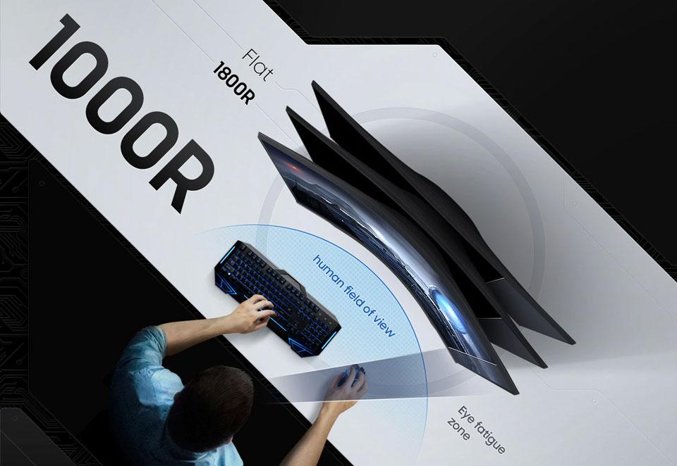 """מסך מחשב גיימינג קעור Samsung בגודל """"27 דגם C27G55TQWM"""