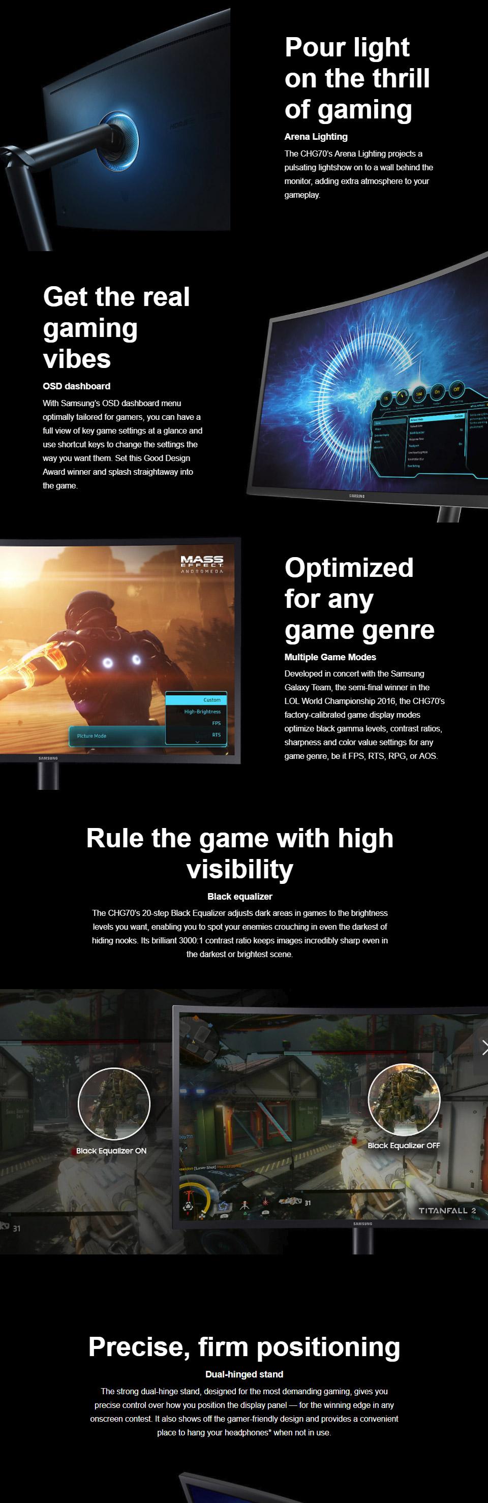 Samsung CHG70 27in HDR 144Hz FreeSync QLED Gaming Monitor