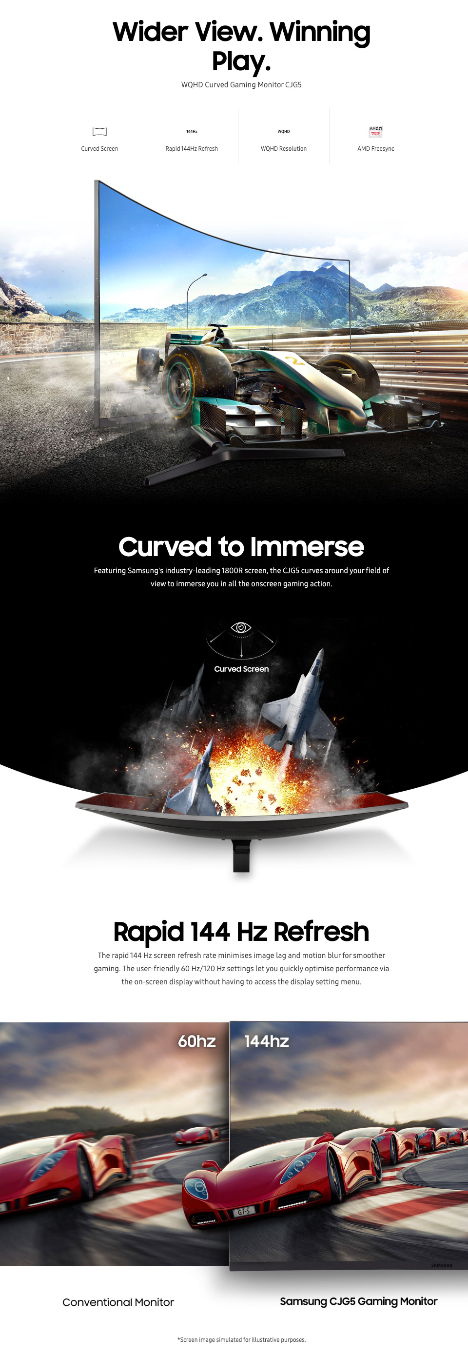 Samsung JG54 QHD 144Hz FreeSync Curved 27in Monitor features