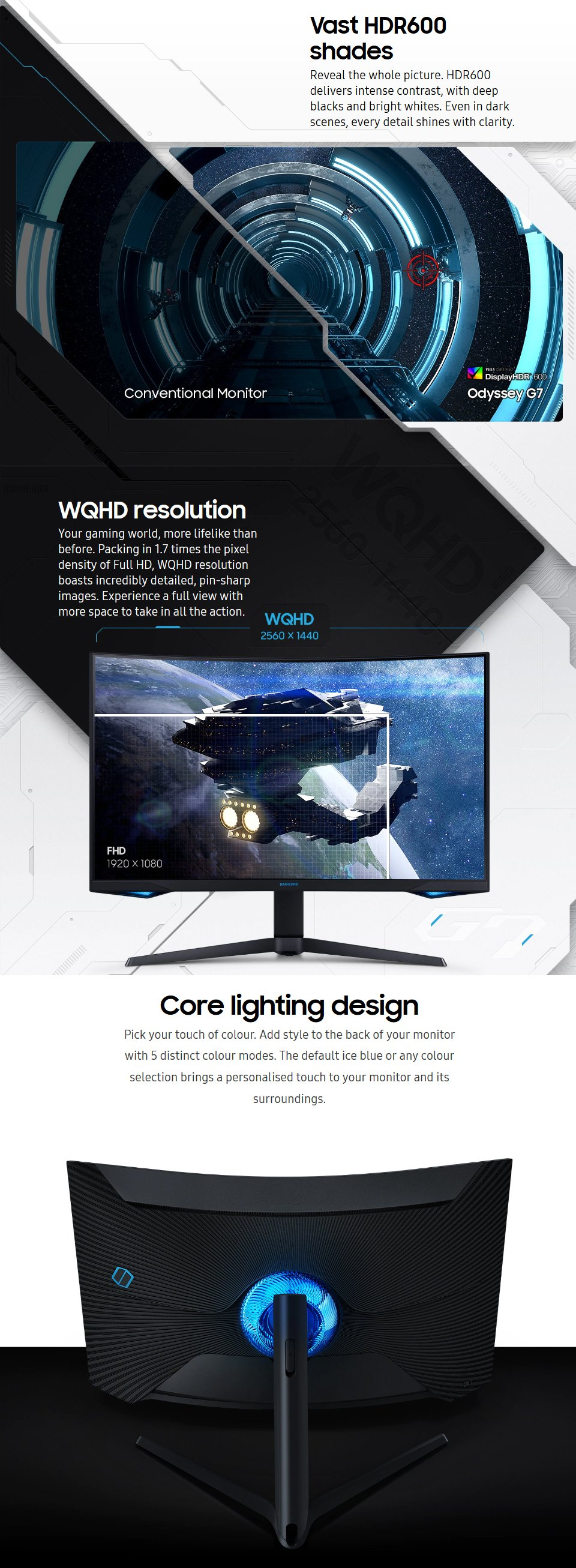 Samsung Odyssey G7 QHD 240hz Freesync QLED Curved 32in Monitor features 2