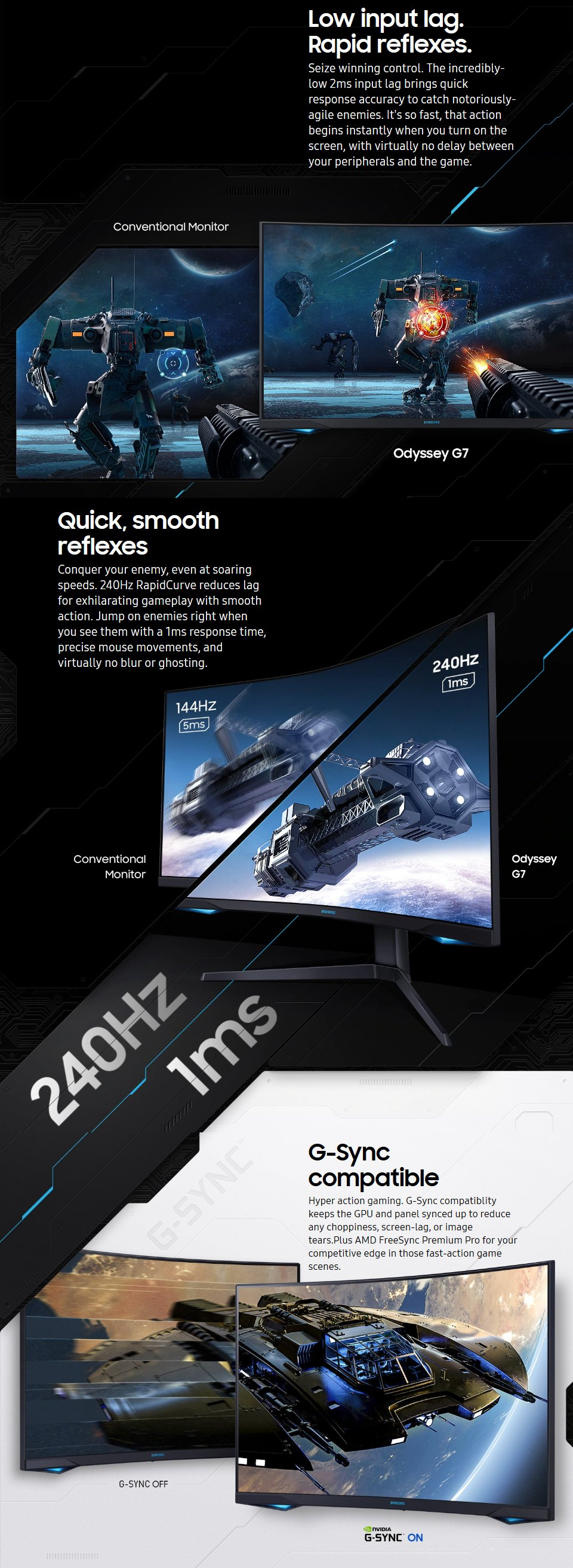 Samsung Odyssey G7 QHD 240hz Freesync QLED Curved 32in Monitor features 3
