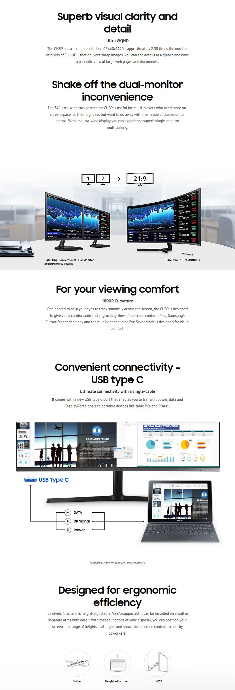 Samsung CH89 UWQHD 100Hz FreeSync Curved USB-C 34in Monitor features