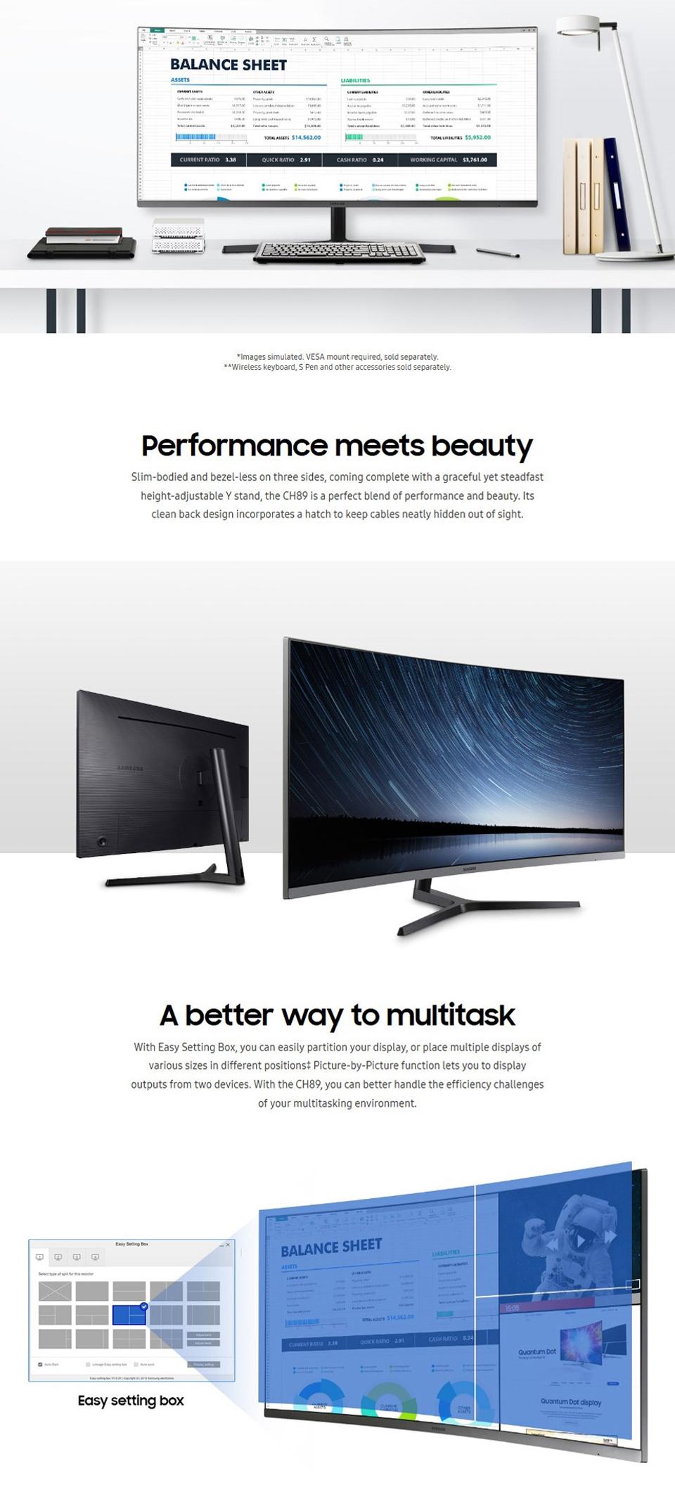 Samsung CH89 UWQHD 100Hz FreeSync Curved USB-C 34in Monitor features 2