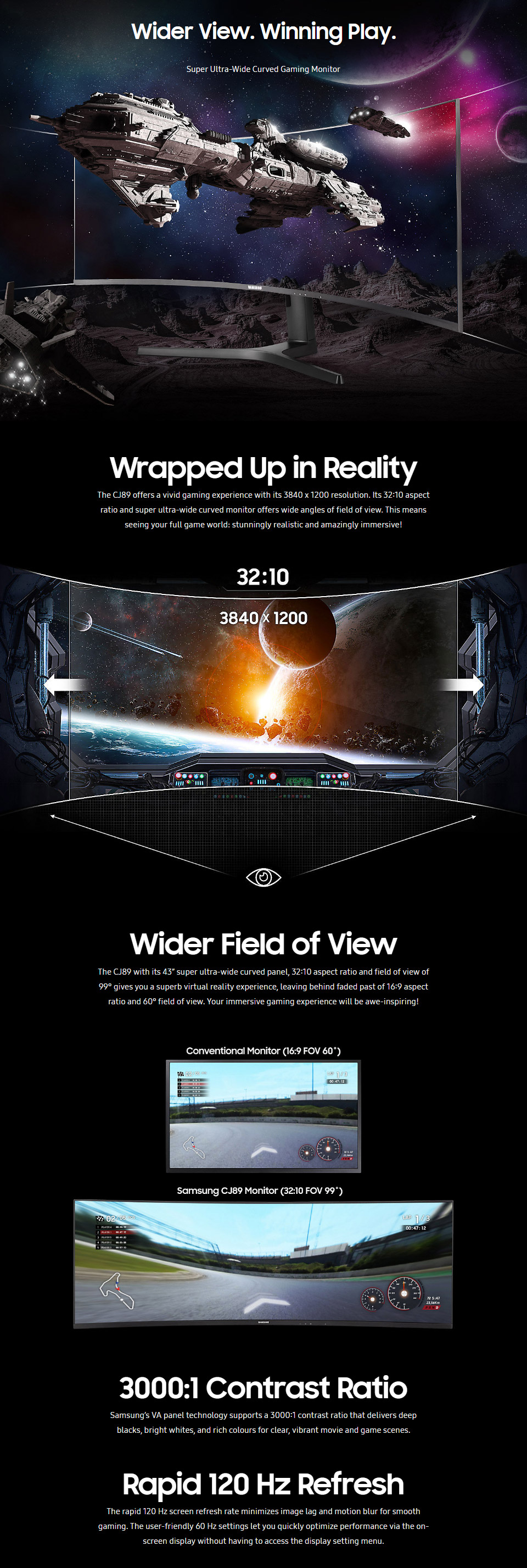 Samsung CJ89 43in Curved 120hz Ultrawide Monitor with Type-C