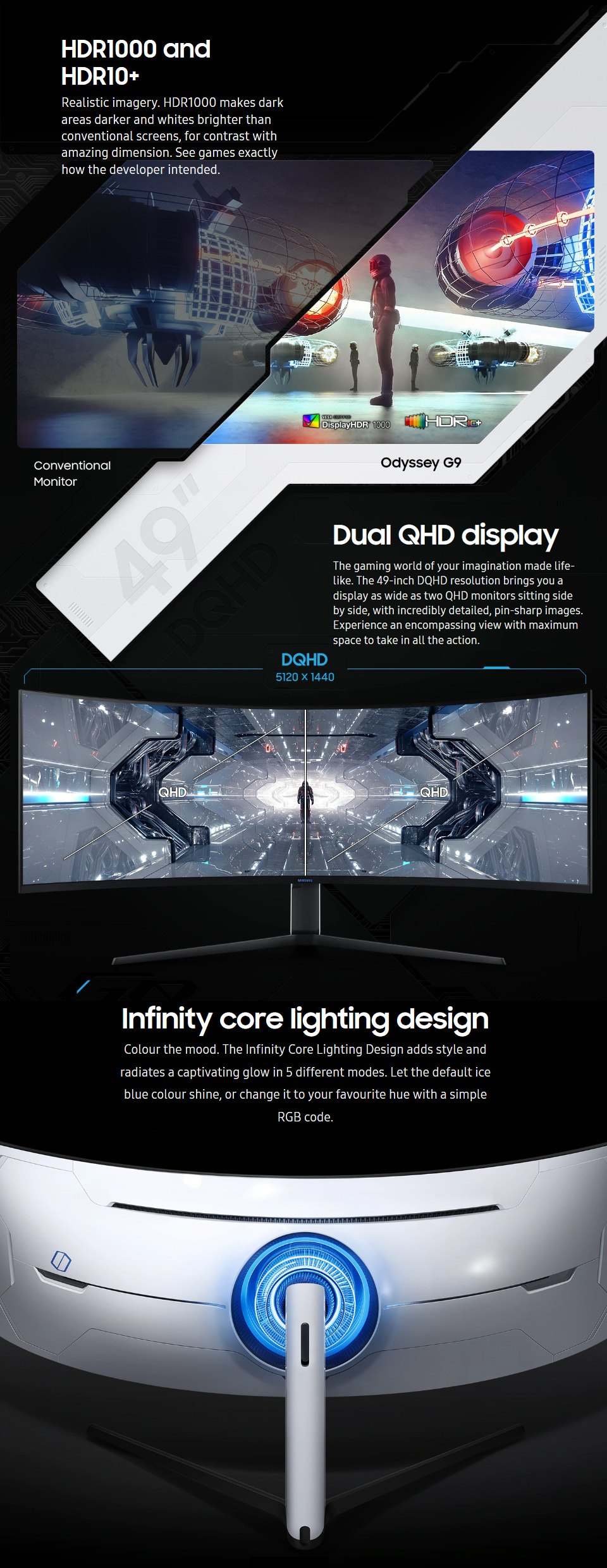 Samsung Odyssey G9 DQHD 240Hz FreeSync QLED Curved 49in Monitor features 2