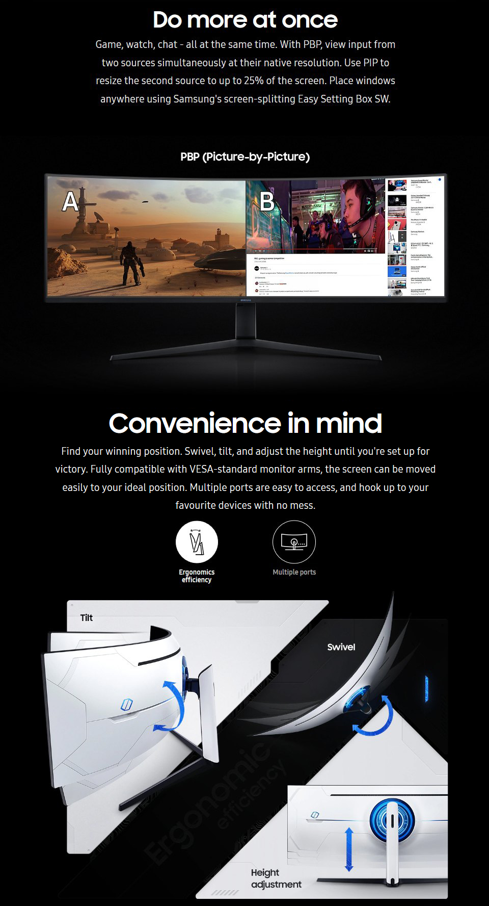 Samsung Odyssey G9 DQHD 240Hz FreeSync QLED Curved 49in Monitor features 4