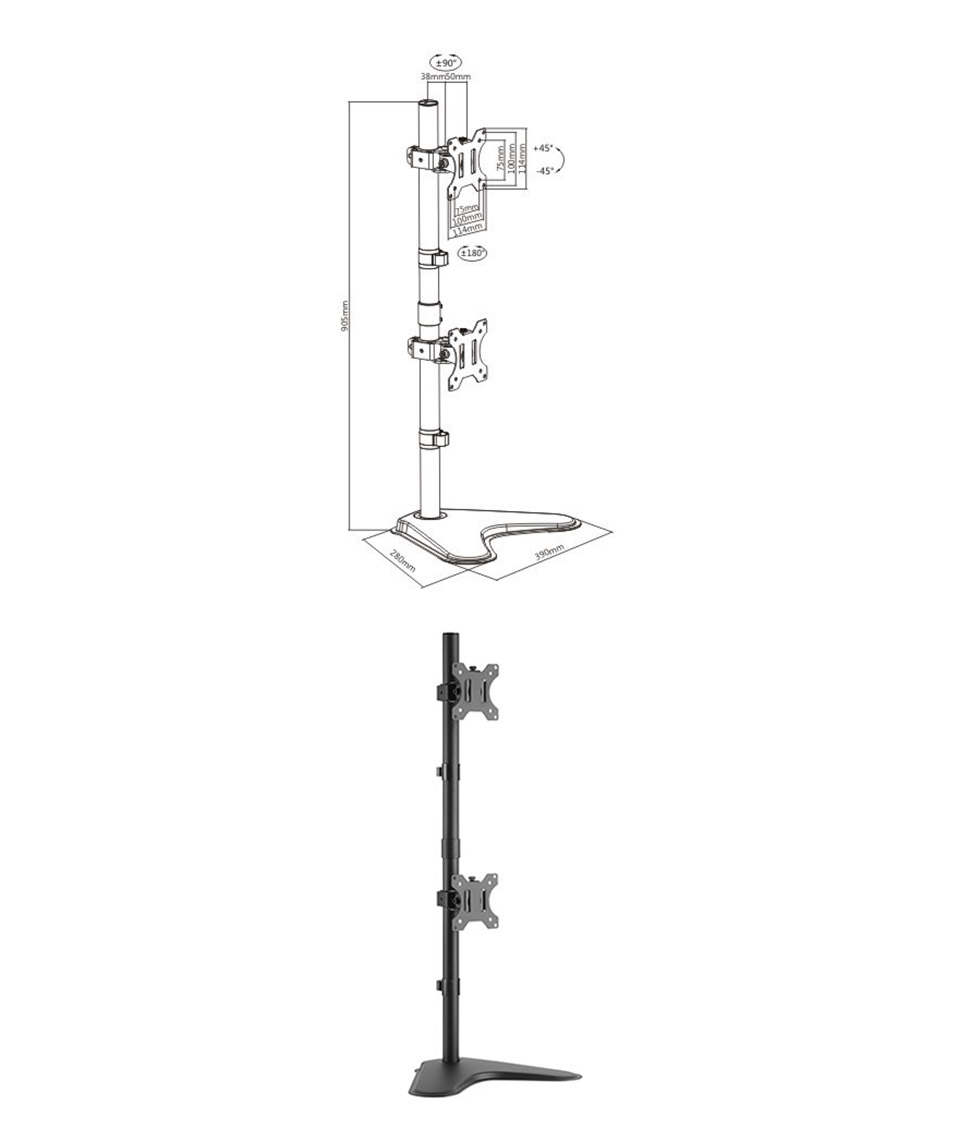 Brateck LDT12-T02V Dual Screens Economical Monitor Stand product