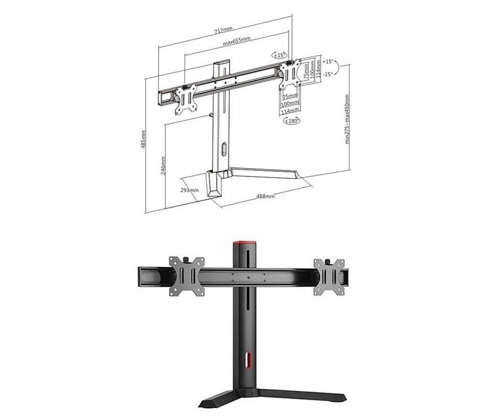Brateck LDT32-T02 Dual Screen Classic Pro Gaming Monitor Stand product