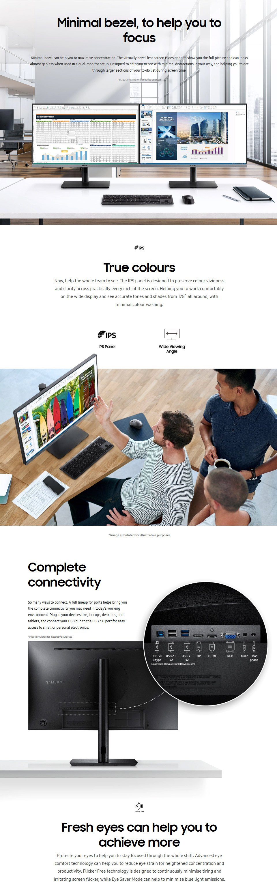 Samsung R650 FHD 75Hz IPS 24in Monitor features