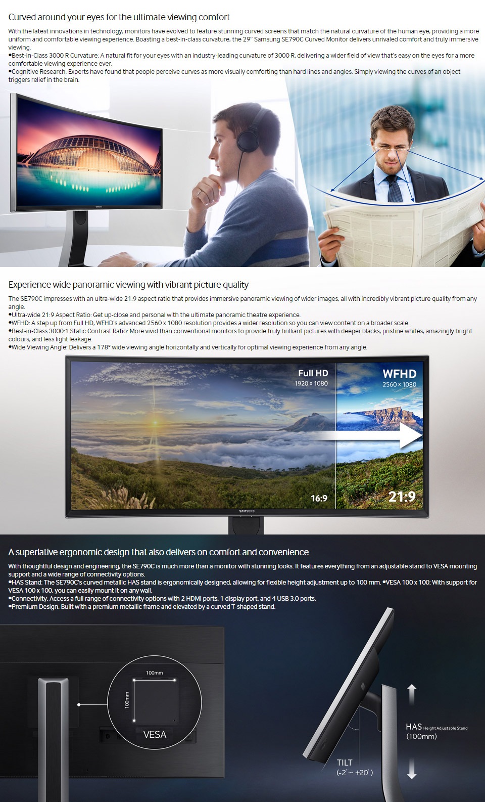 Samsung S29E790C 29in Curved VA Ultrawide Monitor [LS29E790CNS/XY