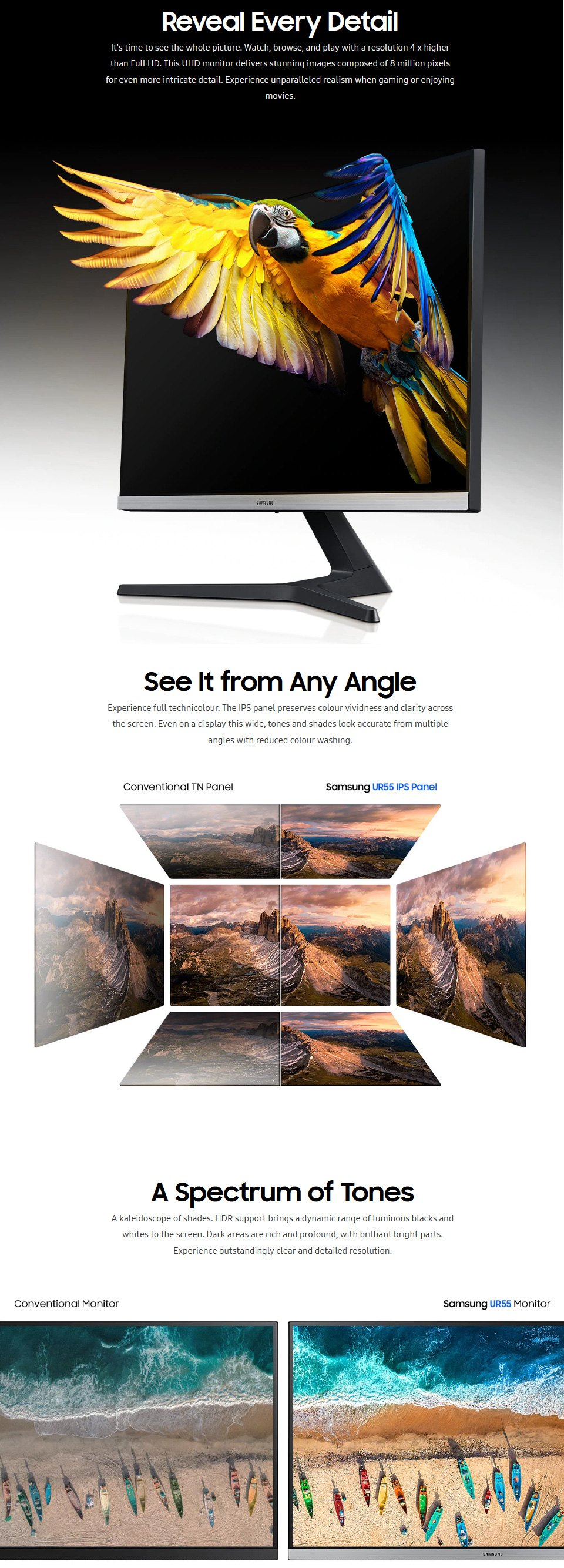 Samsung UR55 UHD 28in Monitor features
