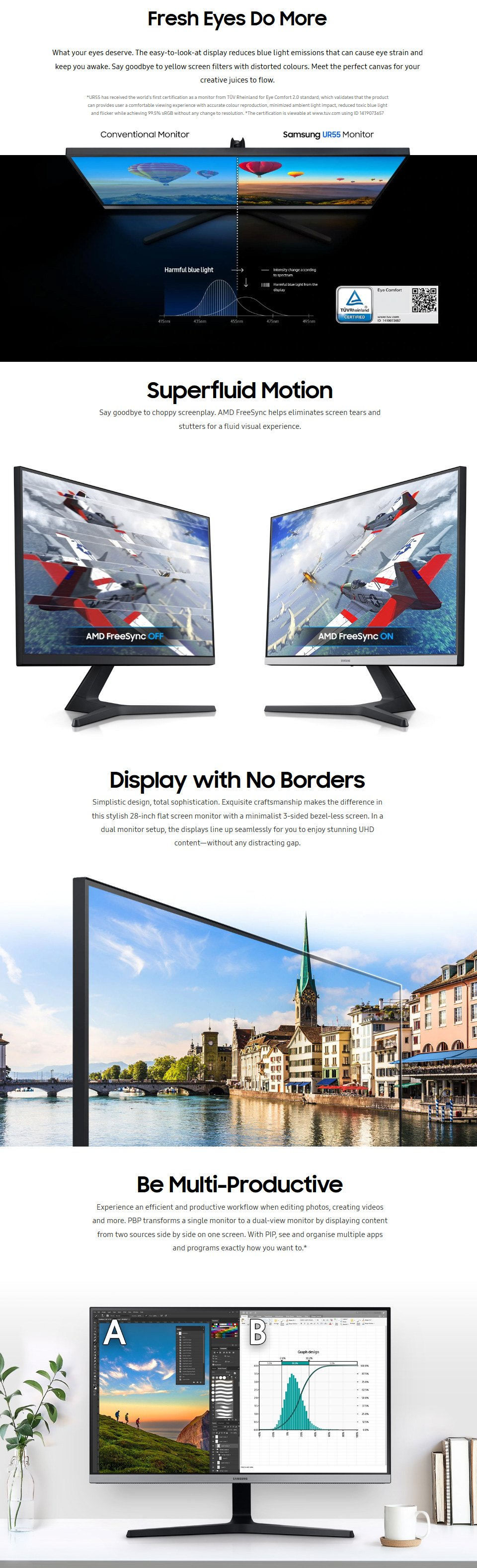 Samsung UR55 UHD 28in Monitor features 2