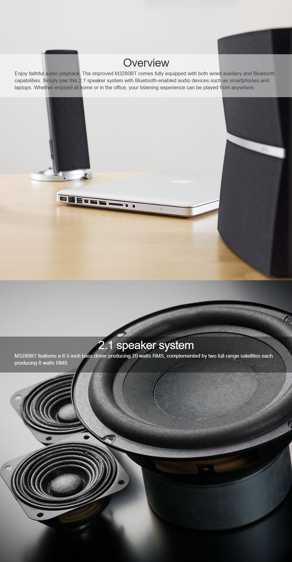 Edifier M3280BT 2.1 Bluetooth Speaker features