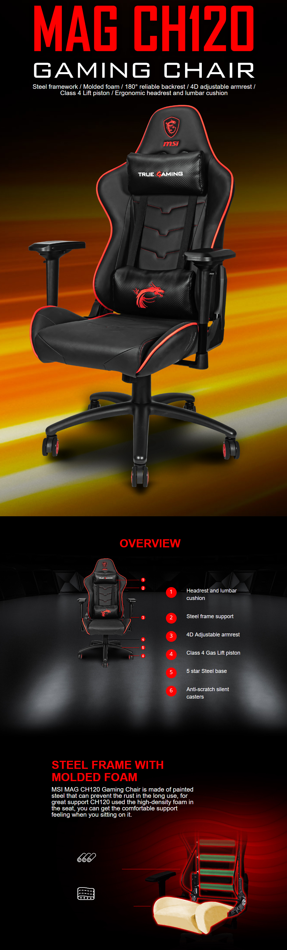 MSI MAG-CH120X Gaming Chair features