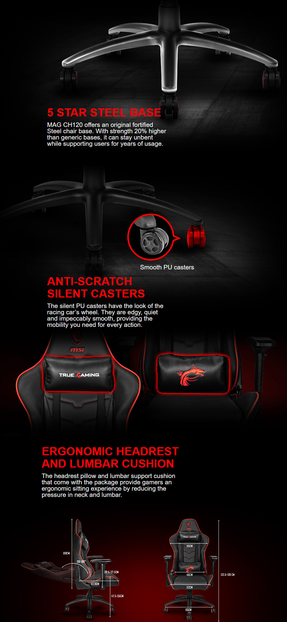 MSI MAG-CH120X Gaming Chair features 3
