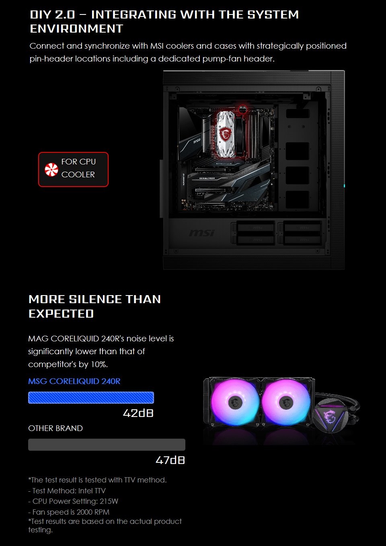 MSI MAG CORELIQUID 240R AIO Liquid CPU Cooler features 3