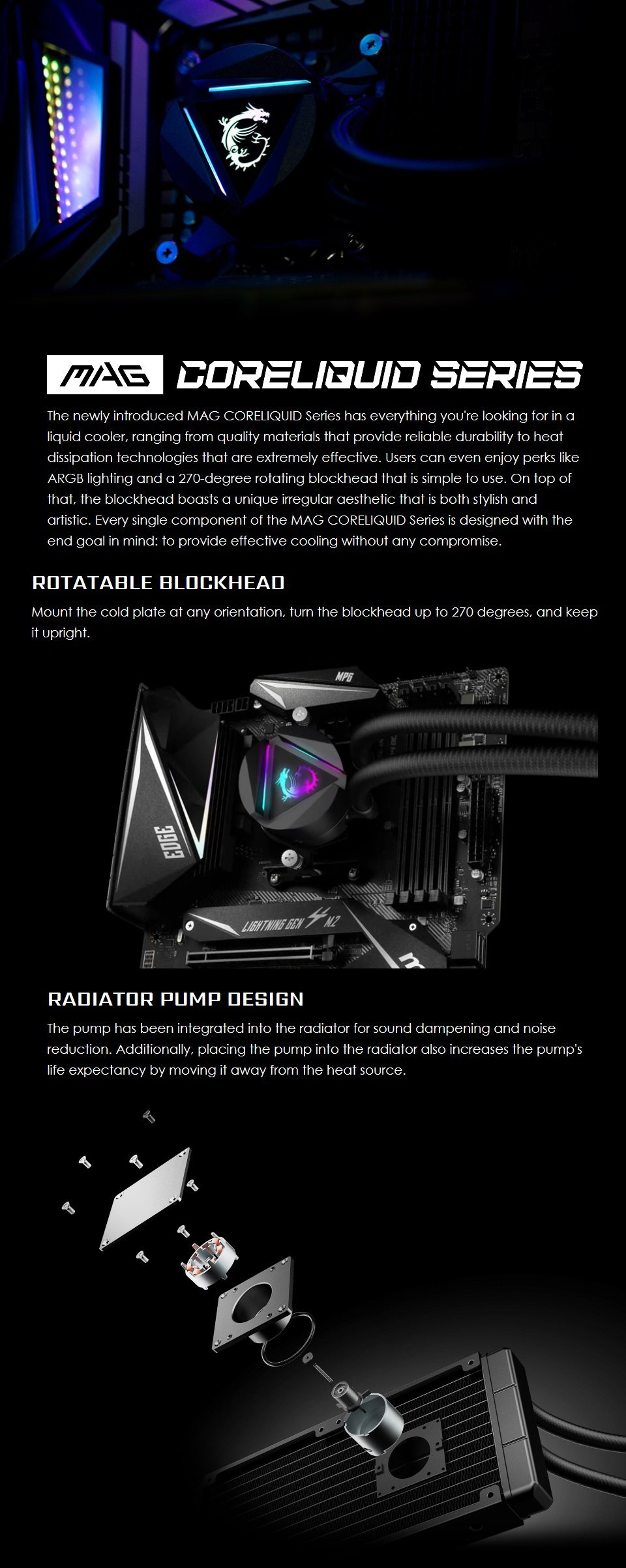 MSI MAG CORELIQUID 360R AIO Liquid CPU Cooler features