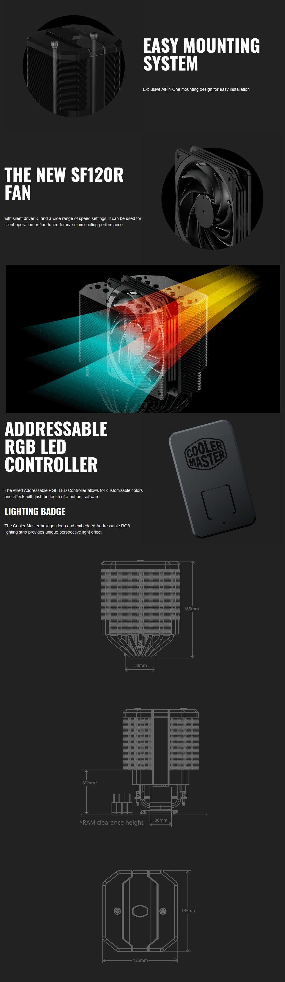 Cooler Master MasterAir MA620M Dual Tower ARGB CPU Cooler features 2