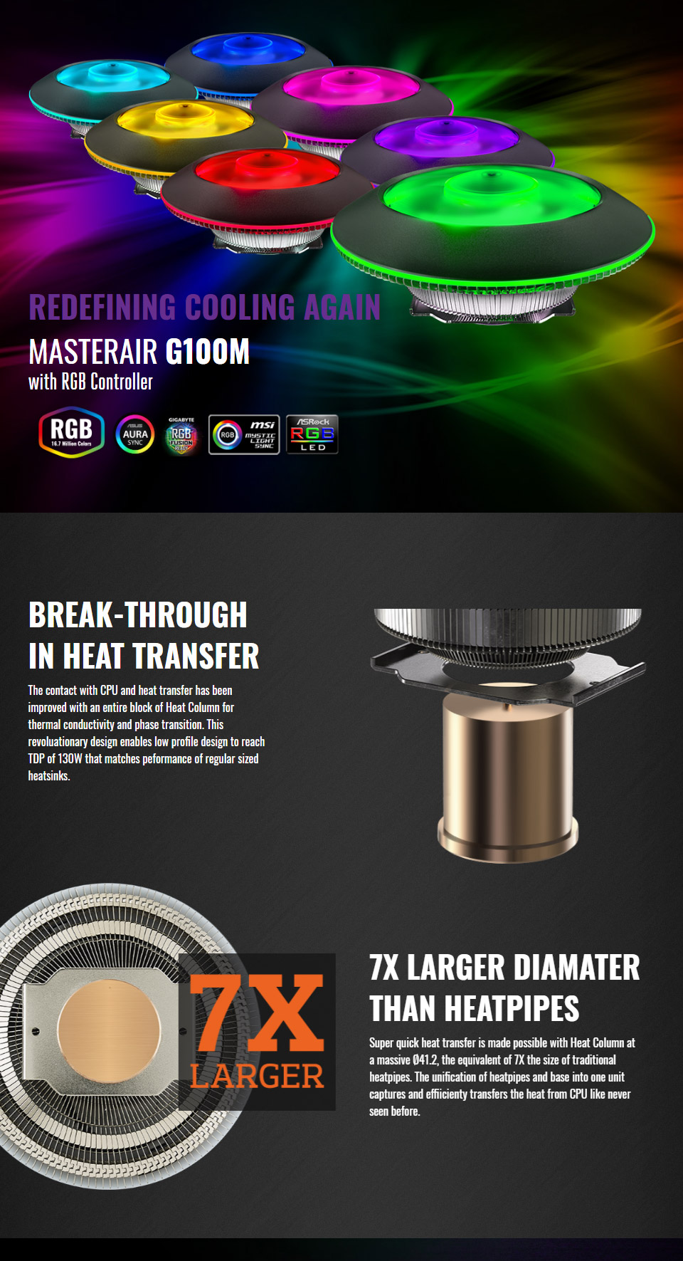 Cooler Master Masterair G100m Rgb Low Profile Cpu Cooler