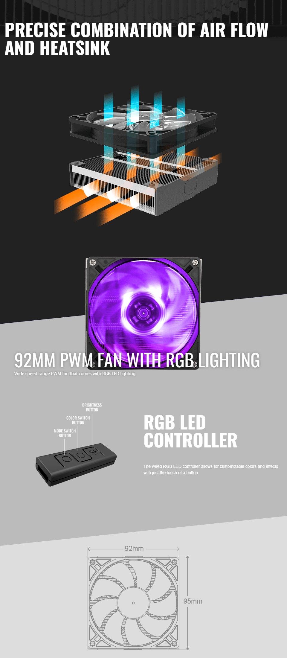 Cooler Master MasterAir G200P RGB Low Profile CPU Cooler features 2