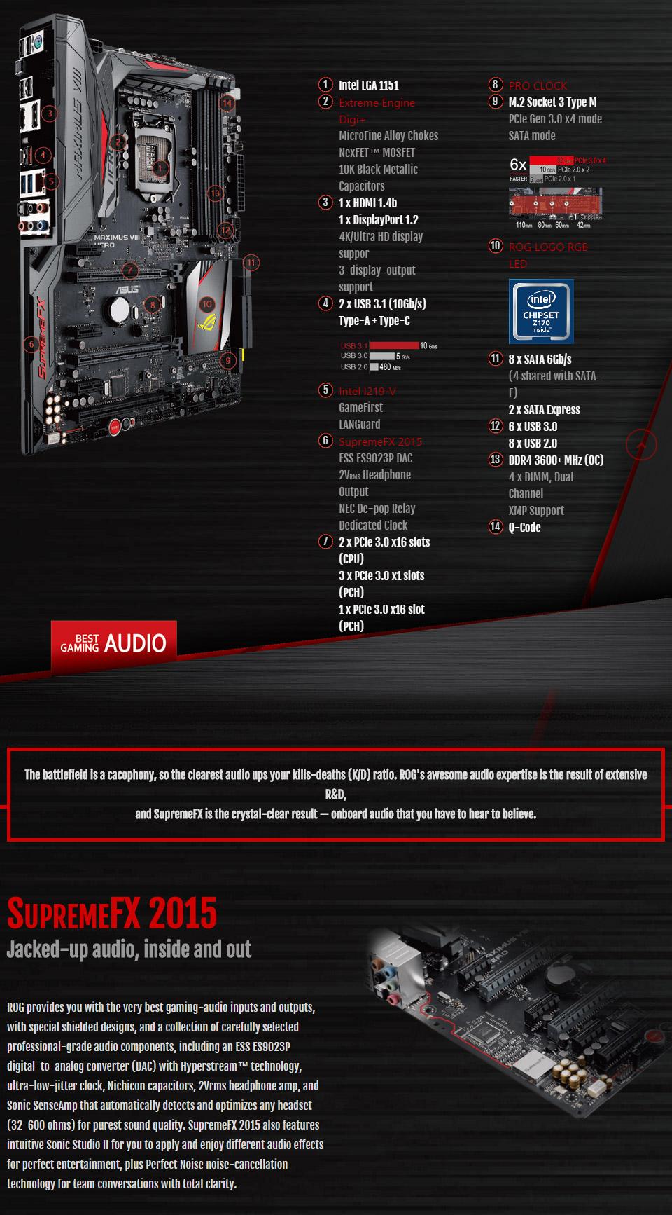 ASUS Maximus VIII Hero Motherboard [MAXIMUS-VIII-HERO] : PC