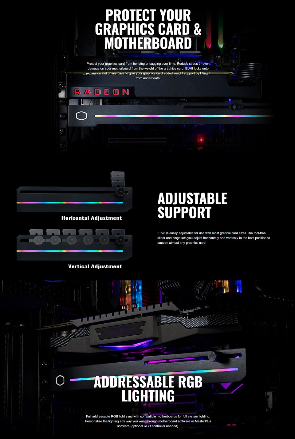 Cooler Master Universal ARGB Graphic Card Holder features