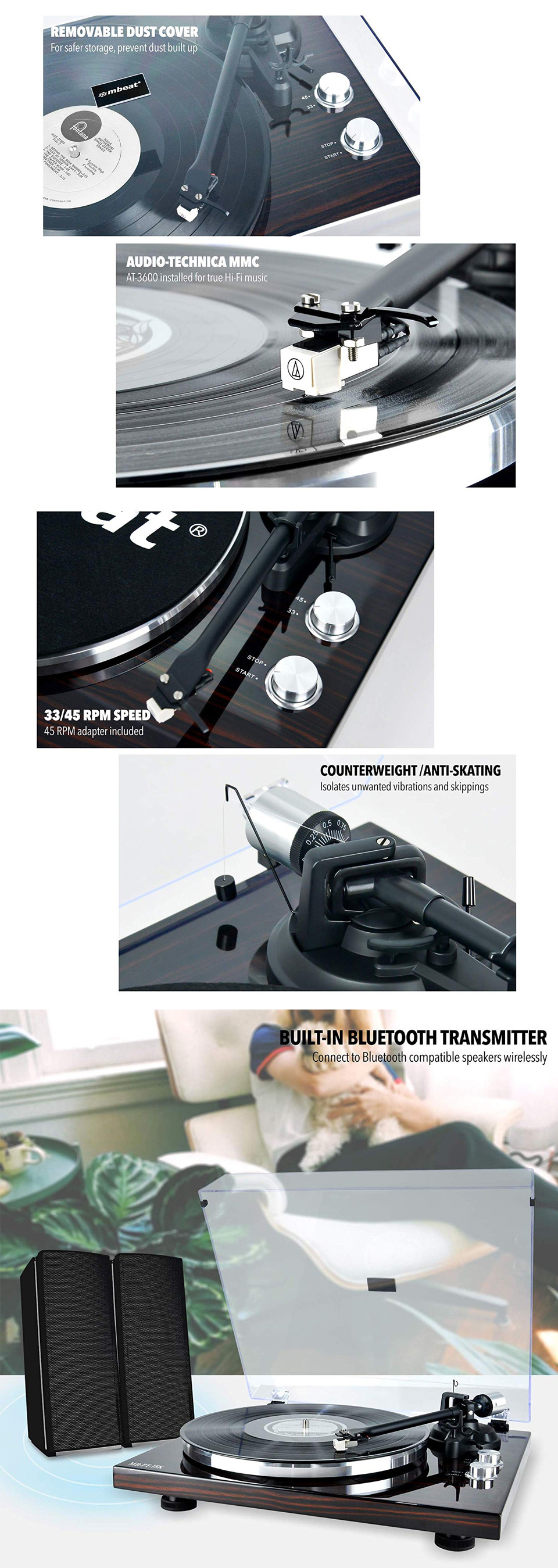 mbeat PT-18K Bluetooth Turntable Record Player features