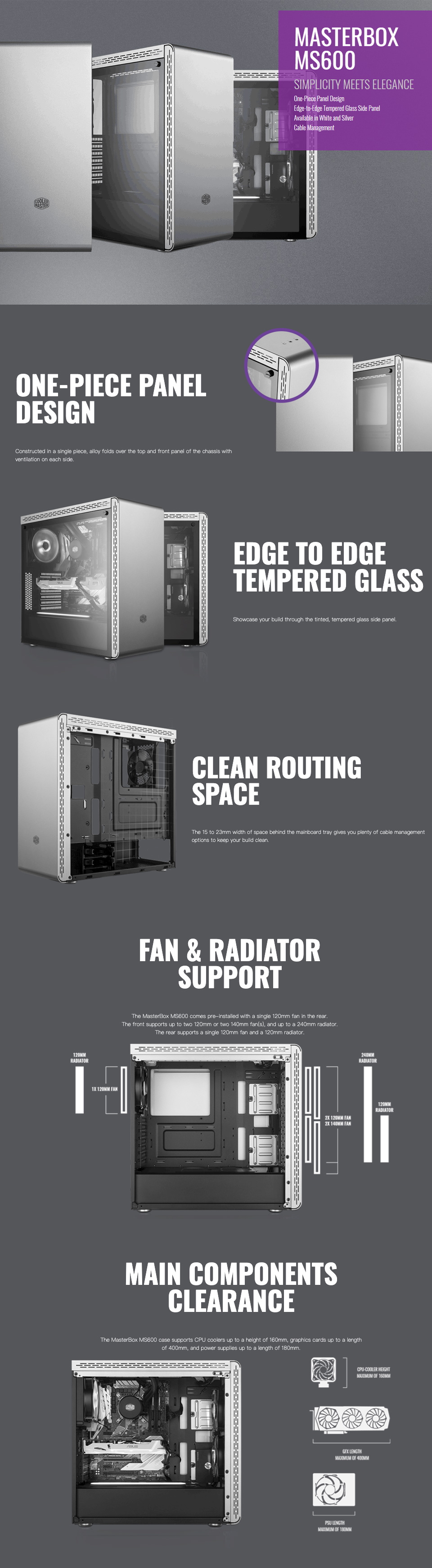 Cooler Master MasterBox MS600 Tempered Glass Case Silver features