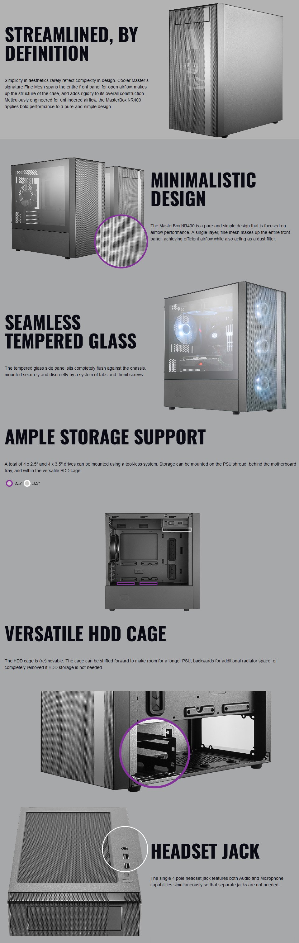 Cooler Master MasterBox NR400 Tempered Glass Case with ODD features