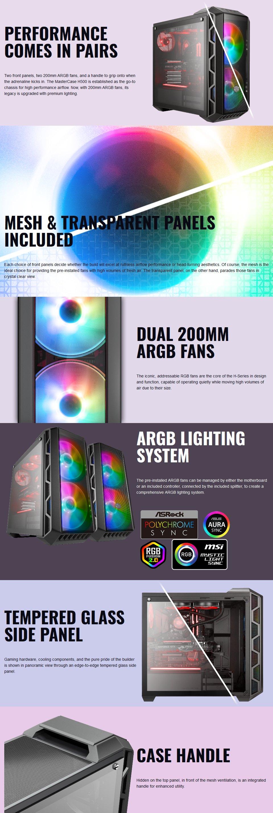 Cooler Master MasterCase H500 ARGB Case features