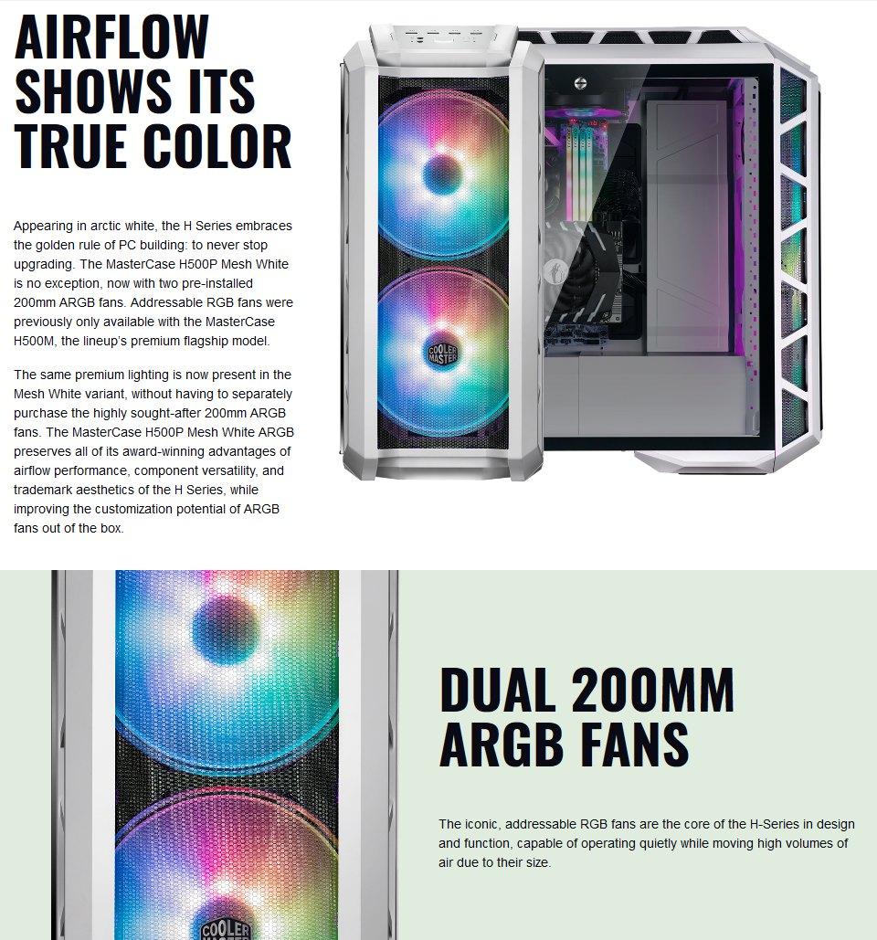 Cooler Master MasterCase H500P ARGB Mesh Case White features