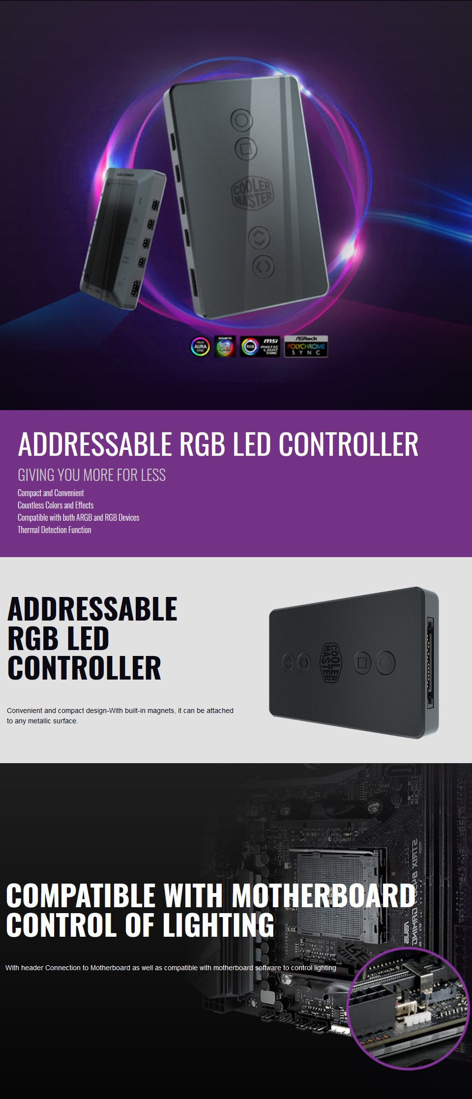 Cooler Master A-RGB LED Controller features