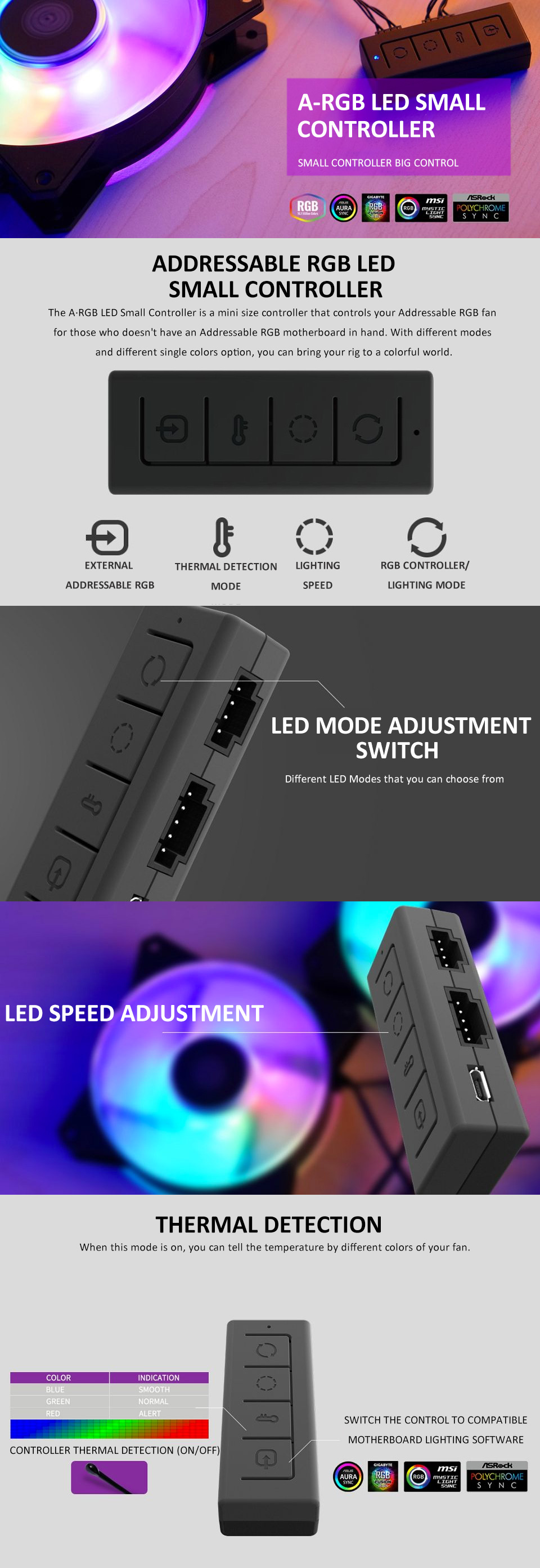 Cooler Master ARGB LED Small Controller features