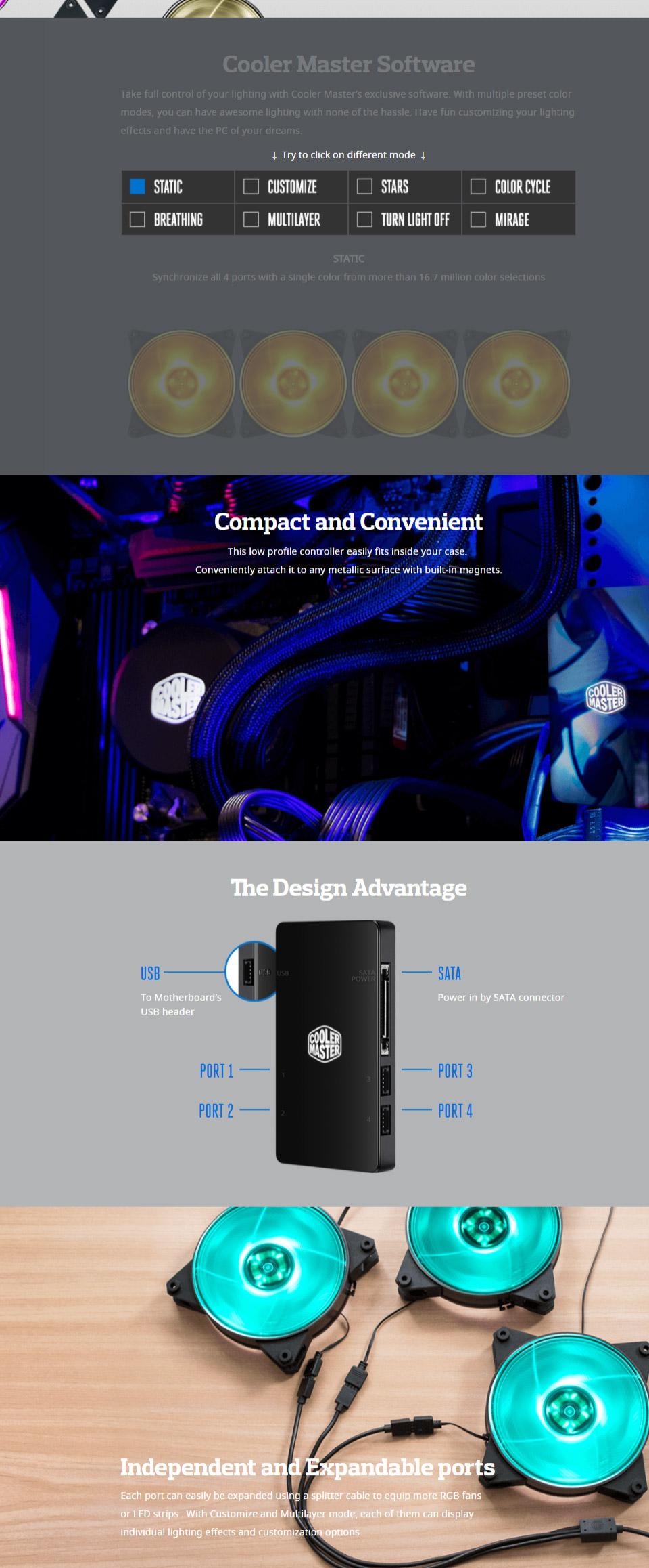 Cooler Master MasterFan Pro 120 Balance RGB (x3) with Controller