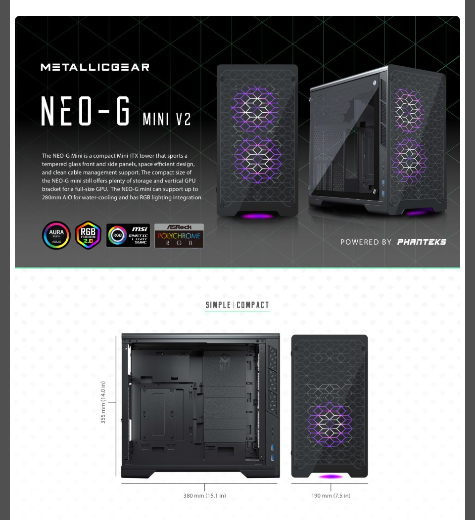 MetallicGear Neo G Mini Case Black V2 features