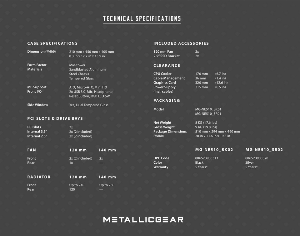 MetallicGear Neo Case Black V2 specifications