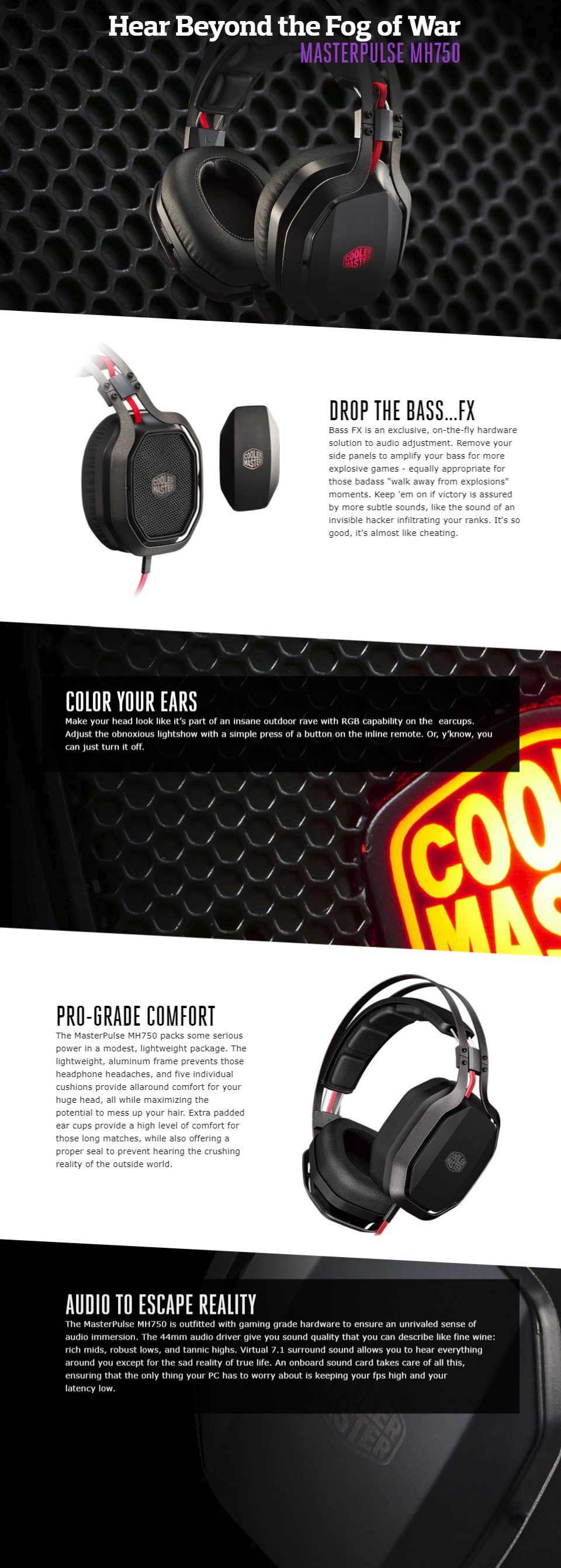 Cooler Master Masterpulse Mh750 Gaming Headset Mh 750 Pc Case Gear Sony